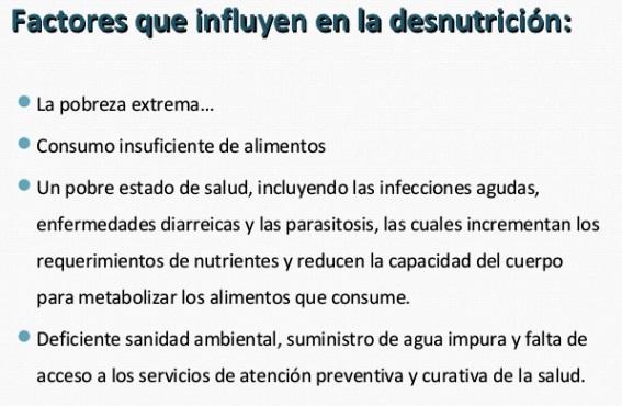 Factores de riesgo de la desnutrición